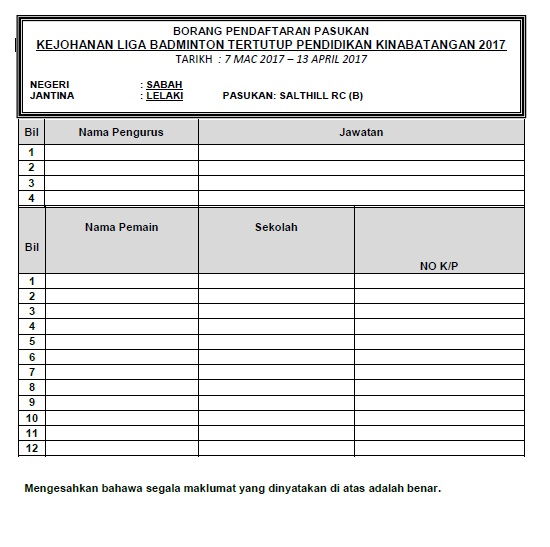 Borang Pendaftaran Pemain Kokurikulum Smk Bukit Garam